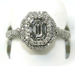 Emerald Cut Diamond Solitaire Square Ring Band 14k White Gold 1.28ct