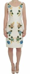 Dolce And Gabbana Dress White Brocade Floral Crystal Sheath It40/us6/s Rrp 10600