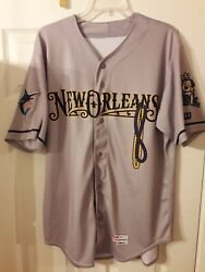Austin Dean New Orleans Baby Cakes Game Used Worn Road Jersey Miami Marlins