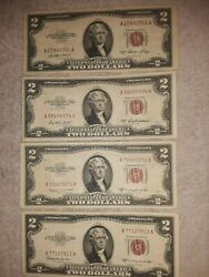 ✯1953/a/b/c Two Dollar Note Red Seal ✯2 Bill ✯us Currency Money