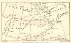 Map Of The Behring Sea And Part Of Alaska 1891 Map Antique Iln Full Page Print