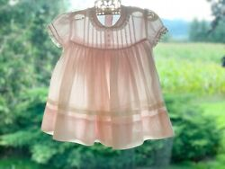 Vintage Girl Party Dress Semi Sheer Pink Tulle Lined Skirt Lace Detail 1950's