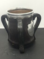 Antique Loving Cup Leather Sterling 3 Handle Dated Christmas 1905