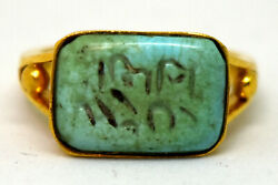 Antique 21k Solid Yellow Gold And Natural Turquoise Seal Ring Size 6 1/4