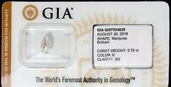 Gia Certified Marquise Diamond Sealed Loose .76ct Color E Clarity Si2 I.d. Prot.