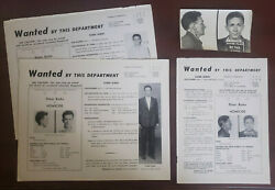 Gangster Elmer Trigger Burke 1954 Boston Pd Mugshot And Nypd Wanted Poster Lot
