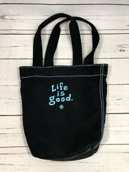 LIfe Is Good Double Strap Canvas Tote Bag Embroidered Front and Back