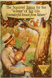 Original Vintage Bank Poster Donand039t Spend It All - The Squirrel Saves C1920 Money