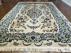8and039 X 10and039 Semi Antique Hand Made India Floral Lamb Wool Rug Carpet Ivory/ Beige