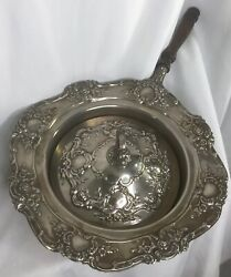 Covered Silent Butler Silver Plate W/ Wood Handle Bed Warmer Ornate Wth Lid