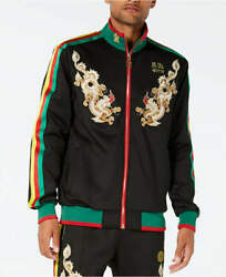 Reason Synthetic Dragons Rasta Embroidered Full Zip Track Jacket Size L