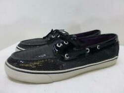 Sperry Top-sider Black Sequins Bahama Deck Doc Boat Shoes Sperrys Womens Sz 9 M