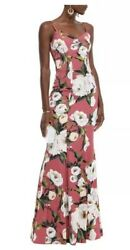 Make Offer Dolce Gabbana Floral Print Antique Rose Pink Silk Gown Rrp5995 It36