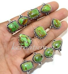 Bulk Lot 50 Pcs Natural Green Copper Turquoise Gemstone 925 Silver Plated Rings