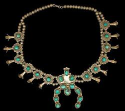 Stunning Vintage Turquoise And Sterling Silver Squash Blossom Necklace