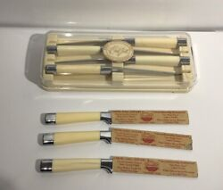 7 Vintage Carvel Hall Knives By Briddell With Lustrex Handles And Case