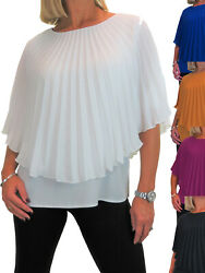 Ice Womens Pleated Chiffon Cape Style Top Plain Crepe Under 10-22