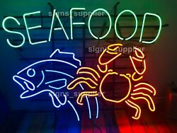 Seafood Fish Lobster Crab Neon Light Sign 24x20 Beer Bar Decor Lamp Glass