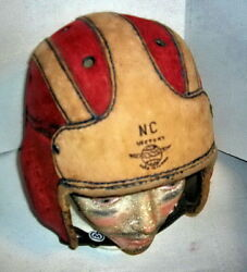 Rare Antique 1920's Nc Victory Leather Football Helmet Canada Very Good Cool