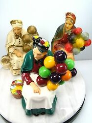 Royal Doulton Balloon Lady The Old Seller Hn 1315 Lot May Be 2 Chalkware Figures