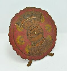Antique Brass Perpetual Calendar 1926 To 2000 Original Old Engraved Hand Crafted