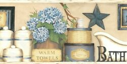 Country Bath Border CTR63101B wallpaper flower blue tan Easy Walls prepasted
