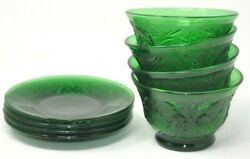 Set Of 4 Antique Forest Green Depression Sandwich Glass Custard Cups And Liners