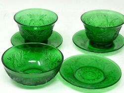 Lot Of Antique Forest Green Depression Sandwich Glass Custard Cup Bowl Liners