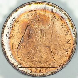 1965 Great Britain 1 One Penny Gem Unc Bu Toned Striking Choice Color Dr