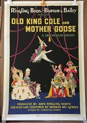 Ringling Rbbb Circus Poster - Old King Cole Mother Goose - 1941 Orig Erie Litho
