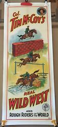 Tim Mccoy Wild West Circus Poster Equestrian Rough Riders 1938 Orig Stone Litho