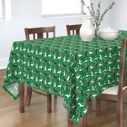 Tablecloth Bull Terrier Bull Terrier Christmas Snowflakes Candy Cotton Sateen