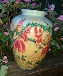Trumpet Flower Fairy Dust Cicely Mary Barker One Of A Kind Vase Rare 8x6 ❤️tb9j4