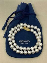 VINTAGE MIKIMOTO 9 MM 17 INCH AKOYA PEARL 18 KT BEAUTIFUL NECKLACE  070619-N1