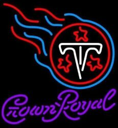 Crown Royal Tennessee Titans Neon Light Sign 24x20 Beer Bar Decor Lamp Glass