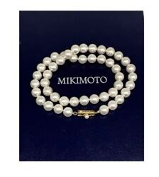 Certified By Mikimoto $15,430  9 mm Estate Akoya Pearl 17 Inch Necklace 14Kt box