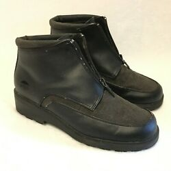 TOTES Size 9M Black Low Heel Ankle Boots Damage around Trim $9.67