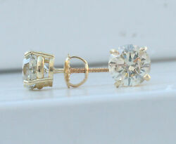 1.75 Ct I Si1 100 Genuine Natural Round Diamond Stud Earrings 18k Yellow Gold