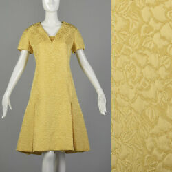 M 1960s Christian Dior Designer Day Dress Mod Yellow Floral Brocade Short Sleeve