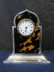 Vintage Early 20th Century English Sterling Silver Miniature Clock