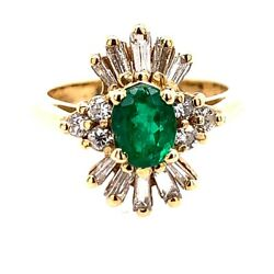 1.30 Carat Retro Gold Ring Natural Oval Green Emerald Gemstone And Diamond 1980