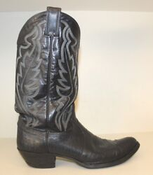 Justin Mens Boot Sz 10 D Black Iguna Lizard amp; Leather Exotic Western Cowboy 8313