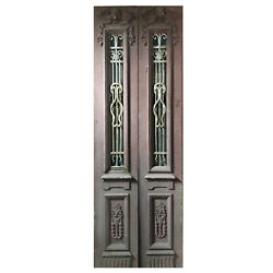 """Salvaged Pair Of 34"""" Antique Figural Doors With Iron Inserts, Ned1107"""