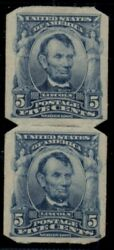 Us 315 5andcent Lincoln Blue Imperf Vertical Pair W/u.s.a.v. Perf Type I Pf Cert