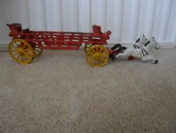 Vintage Cast Iron Horse Drawn Hook And Ladder Wagon Fire Truck – 2 Horses