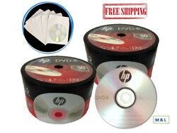 Hp 16x Logo Top Dvd-r Blank Disc 4.7gb + White Paper Sleeves Wholesale Lot