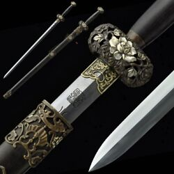 Traditional Hand Forged Pattern Steel Fugui Sword Pure Copper Fittings 5014