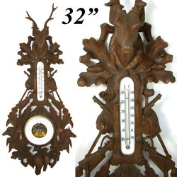 Antique Black Forest Oak 32 Fruits Of The Hunt Wall Barometer Stag Dog Fox +