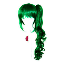 23'' Curly Pony Tail + Base Emerald Green Cosplay Wig NEW