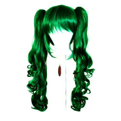 23'' Curly Pig Tails + Base Emerald Green Cosplay Wig NEW